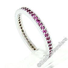 14K White Gold 1.0ctw Hand Set Pink Sapphire 2.3mm Milgrain Eternity Band Ring