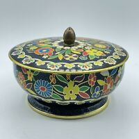 Vintage Retro Round Footed Floral Tea Cookie Metal Tin Container Made in England
