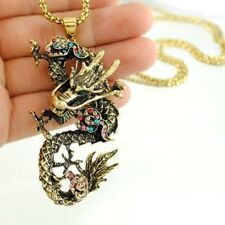 N528 ANTIQUE GOLDEN TONE CHINESE DRAGON w/ RHINESTONE PENDANT NECKLACE