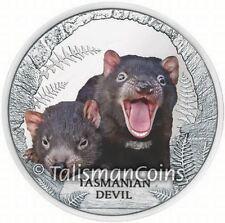 Tuvalu 2013 Tasmanian Devil Endangered Extinct $1 Pure Silver Proof in FULL OGP