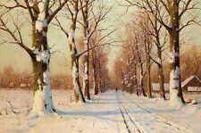 Dream-art Oil painting Walter Moras - winter snow landscape with trees on canvas