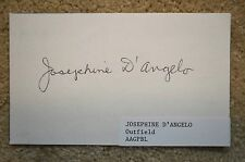 "1943 1944 AAGPBL WOMENS BASEBALL JOSEPHINE ""JO JO"" D'ANGELO AUTHENTIC AUTOGRAPH"
