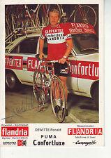 CYCLISME carte DEWITTE RONALD (equipe flandria confortluxe  ) 1975 signée