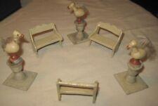 Old Wooden Mini Garden Benches & Bird Statues for Dollhouse or Xmas Putz Village