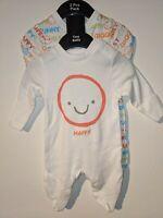 Smile Happy White Orange Sleepsuit Babygrow Unisex 2 Pack Tiny Baby 100% Cotton