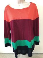 J Crew Women's Color Block Striped Thin Knit Sweater Top Shirt Sz M