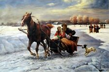 Alfred Von Wierusz Kowalski Lovers in a Sleigh Oil Painting repro