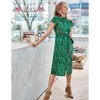 Boden Clare shirt dress in forest green size 12 reg womens tie waist large L
