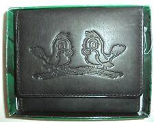 Love Birds Genuine Leather Trifold Wallet,Black