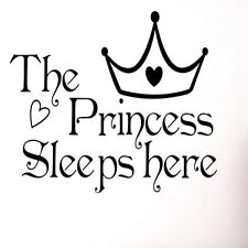 The Princess Sleeps Here Kids Wall Sticker Vinyl Art Quote Decal Home Business
