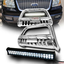 Chrome Steel Bull Bar Grill Grille Guard+120W Cree Led Fog Light 04-18 Ford F150