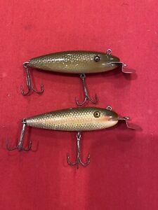 2 Early 100 series Creek Chub Wigglers w/ GE. Chub And Dace Due To Red Stripe