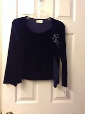 NWT Girls Navy Velour Long Sleeve 2fer Cardigan Top w/embroidered Flowers.