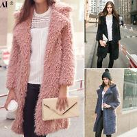Womens Winter Warm Faux Fur Cardigan Fluffy Overcoat Trench Coat Jacket Outwear