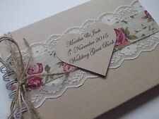 PERSONALISED VINTAGE WEDDING GUEST BOOK Shabby chic New In Box