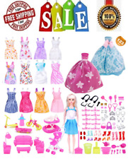 23Pcs Barbie Doll Clothes Accessories Huge Lot Party Gown Outfits Girl Gift Set