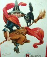 Halloween Postcard Witch Black Cat Frances Brundage Series 120 Vintage 1911