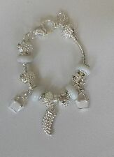 NEW! 925 Silver Crystal Charm Bracelets With White Murano Glass Beads