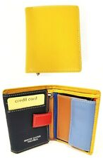 NEW VERA PELLE YELLOW+ MULTI COLOR ITALIAN PEBBLED LEATHER TRIFOLD+COIN WALLET