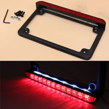 12V Black Motorcycle Frame Side Mount LED Tail Light Brake Running License Plate