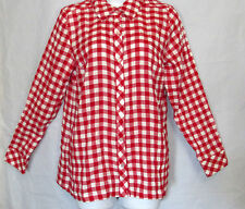 d & co. Women's XS Red/White Crinkle Long Sleeves Top Shirt