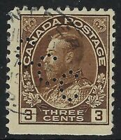 Perfin C8-CCC (Canada Cement Co) Scott 108, 3c King George V Admiral, Position 1