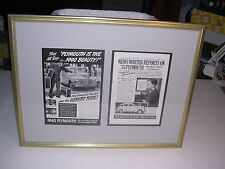 1940 and 1935 Plymouth Ads in Gold Frame and Gray Mat