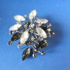 Beautiful OLD  Brooch / Pin -Floral Design - Opaque & Smoky etc - -