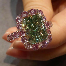 Fashion Women 925 Sliver Peridot & Pink Sapphire Ring Wedding Bridal Party Gift
