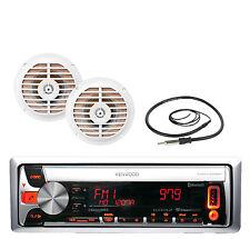 "Kenwood Marine CD/MP3 USB iPod Bluetooth Radio + 2x White 5.25"" Enrock Speakers"