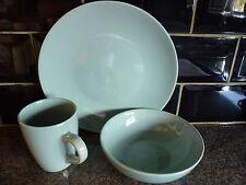 32 Piece Plain Sage Round Stoneware Dinner Set Service Contemporary bargain