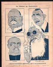WWI Caricature Ludendorff Helfferich Germany God/Senlis France 1917 ILLUSTRATION