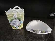 GERMAN ELFINWARE SQUARE BASKET AND ASH TRAY WITH SPINACH