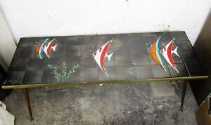 Mid Century Coffee table Italian Art Design Ceramic Signed by Denisco Street Art