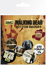 WALKING DEAD ZOMBIES 6 PACK OF BADGES NEW 100% OFFICIAL MERCHANDISE