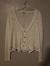 Free People Wool Alpaca Cardigan Sweater Ivory Size S