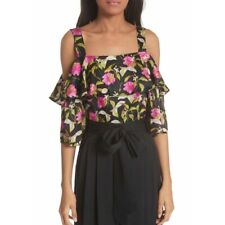 NWT MILLY $350 Calla Lily Cold-Shoulder Silk Blouse Size 10