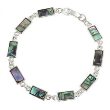 Blue Green Abalone / Inlaid Paua Shell Rectangle Section Silver Bracelet