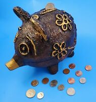 "Vintage Piggy Bank Polyresin Brown Pig 7"" Tall Carved Mexico - Etched Details."
