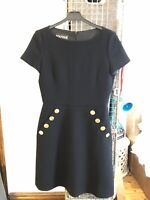 MOSCHINO BOUTIQUE BLACK DRESS UK 10 ITALY 42 USA 8 WOOL GOLD BUTTONS WORN ONCE