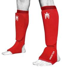 Meister Mma Elastic Cloth Shin & Instep Padded Guards (Pair) Red S/M
