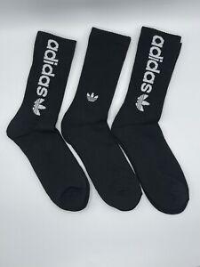 Adidas TREFOIL Socks MEN Moisture Wicking CUSHION CREW Socks Black LARGE 6-12 X3