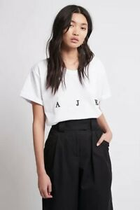 Aje Womens Relaxed Fitting White T-shirt Short Sleeve Crew Tee Tops SZ S/10 BNWT