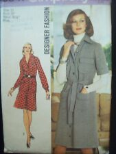 Vintage 1970s Simplicity Pattern 5847 Designer Fashion 2-Piece Dress Cut Size 12