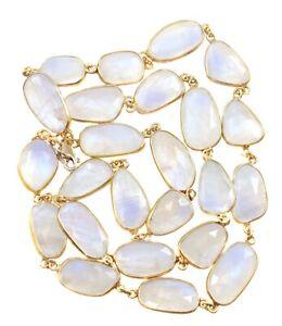 Moonstone Necklace Large Facet 24 36 Inc AAA 14k Gold filled Bezel Blue Rainbow