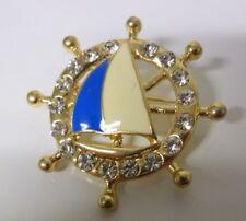 Vintage Nautical Rhinestone Enamel Sea Sailboat Wheel Pin Brooch