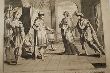 GRAVURE SUR CUIVRE ABIMELECH ABRAHAM SARA -BIBLE 1670 LEMAISTRE DE SACY  (B12)