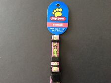 """Top Paw Dog Collar with Pink and Green Flower Pattern X-small 8""""-12"""" neck size"""