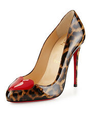 Christian Louboutin Doracora Leopard-Print Heart Patent Leather Pumps Size 40