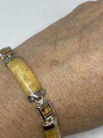 Vintage HoneyJade Garnet Bracelet 925 Sterling Silver Deco